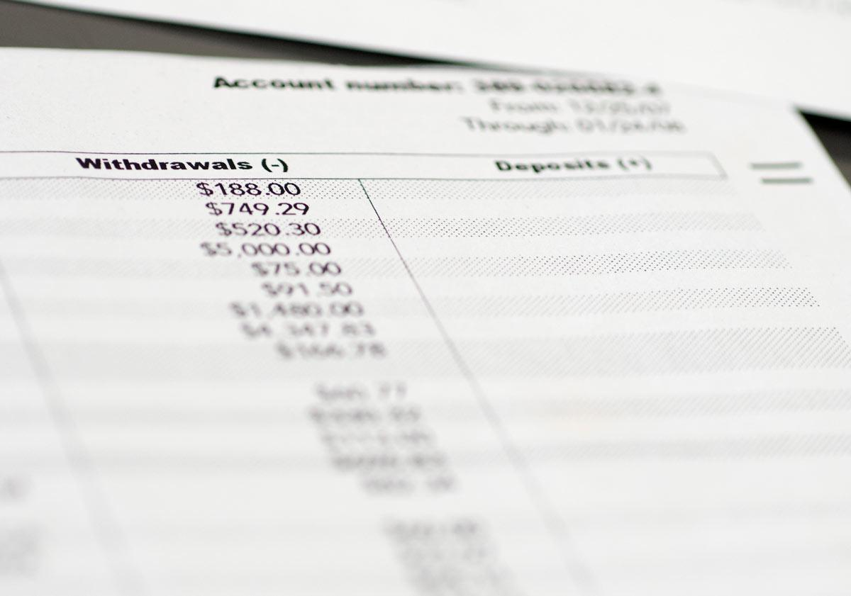 Accounting Sheet with Withdrawals for Tax Accounting and Accounting Services in Sandy Springs, GA